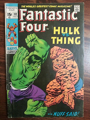 Fantastic Four #112 VG FN 5.0 OW Hulk Vs Thing Classic Bronze Key See Pictures!