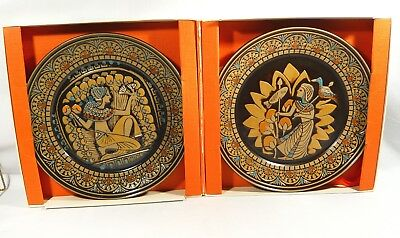 2 Denbyware EGYPTIAN  Plates The Kings Fisherman Queens Hand Maiden Denby