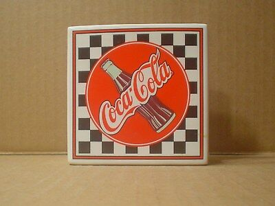 Coca Cola Ceramic Table Napkin Holder Coke Bottle Checkered Pattern, 1995 Enesco