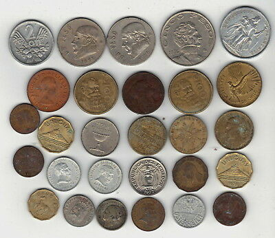 Mixed Lot Of 28 Foreign Coins-Mexico-Uruguay-France-Germany-Silver Netherlands+