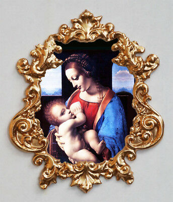 Madonna Litta by Leonardo da Vinci.Applique,Furniture mount.Faux ormolu.