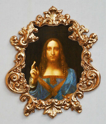 Salvator Mundi (Jesus)by Leonardo da Vinci.Applique,Furniture mount.Faux ormolu.