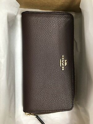 NWT Coach F16612  Pebble Leather Accordion Zip Wallet Oxblood 1 $250