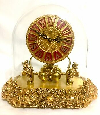 Unique Ruby Dial Gorgeous Ornate Vintage Kern Anniversary Clock 9""