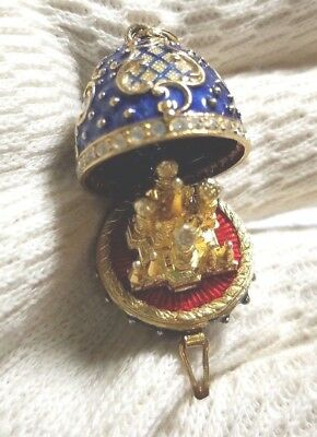 "Antique St Basil 34g Sterling Silver Gilt 1.25"" Russia Enamel Egg Pendant Locket"