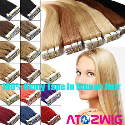 Tape in Grade 8A 100% Virgin Remy Human Hair Extensions 20/40pcs Skin Hair Weft