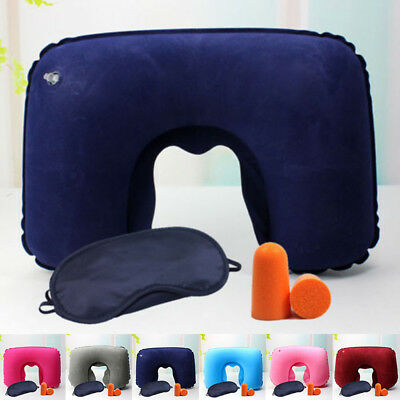 Travel Flight Inflatable Pillow U Neck Rest Air Cushion+Eye Mask+Earbuds Hot