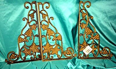 "3 lot 12 "" Rustic Brown  Shelf Brackets Grapevine Design Solid Cast Iron NWT"