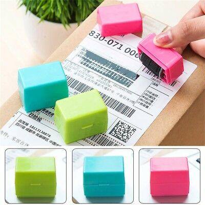 US 1PC ID Theft Prevention Self-Inking Stamper Messy Code Security Stamp Roller