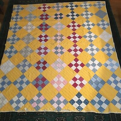 """Vintage Cutter Early 1900s Cotton Patchwork Quilt 67 X 76"""" Indigo Blue, Yellow"""