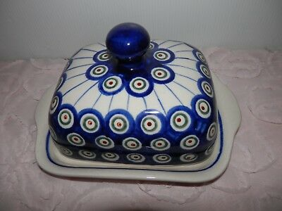 Vtg Boleslawiec Polish Pottery Covered Cheese or Butter Dish Blue Stoneware Nice