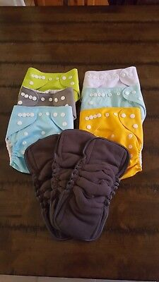 6 Plain reusable cloth nappy, 3 bamboo inserts
