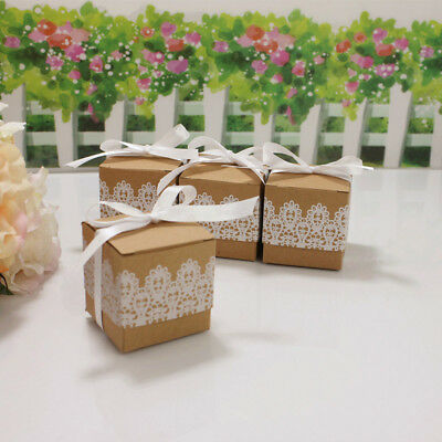 50pcs Kraft Paper Candy Cake Cookies Handle Gift Boxes Wedding Lace Design 2019