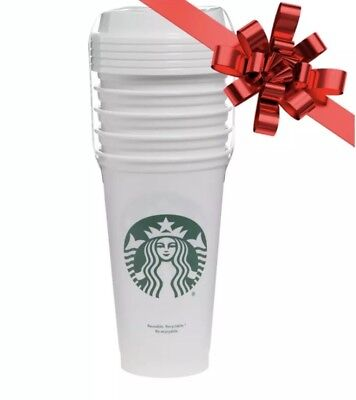 Starbucks Reusable White Cup Collection Tumbler 16 Oz Pack of 5 New Sealed Gift