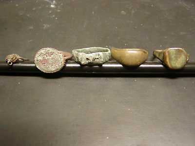 Ancient Roman Bronze Rings.  Lot of five. Very good condition.