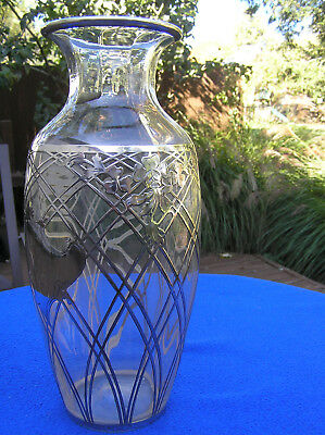 Large sterling silver overlay glass vase 12.5""