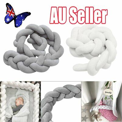 2/3M Infant Baby Plush Crib Bumper Bedding Bed Cot Braid Pillow Pad Protector JW