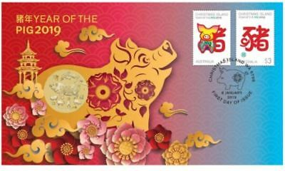 2019 YEAR OF THE PIG PNC Stamp & Coin Cover