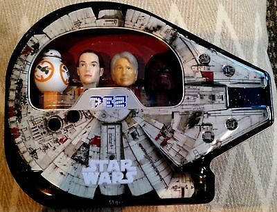 PEZ Star Wars Millennium Falcon Gift Set Collectible Tin Han Solo Rey BB-8 CHEWY