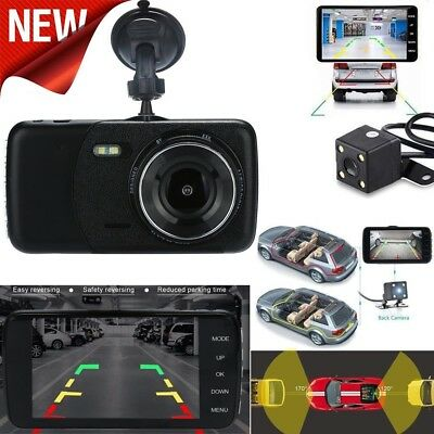4'' LCD 1080p Dual Lens Car GPS Dash Cam FHD Dashboard Camera 170° Driving DVR
