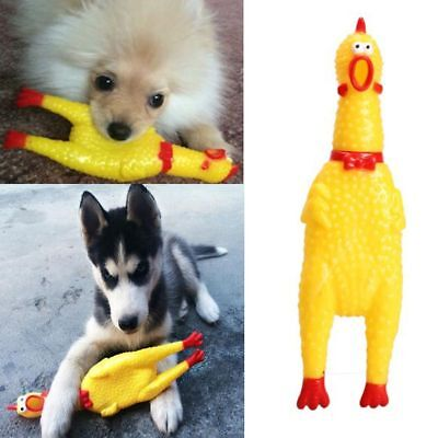Rubber Screaming Yellow Chicken Pet Dog Puppy Chew Toy Squeaky Pet Supplies