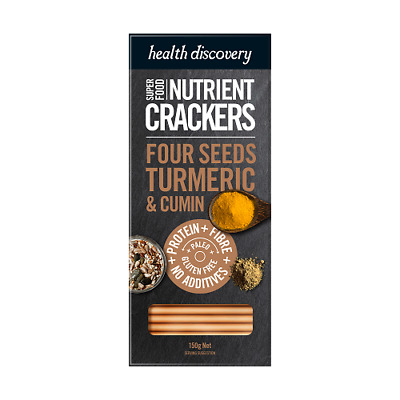 HEALTH DISCOVERY Paleo Four Seeds Turmeric & Cumin Crackers 150g
