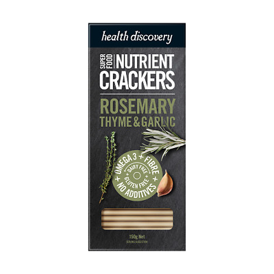 HEALTH DISCOVERY Rosemary, Thyme & Garlic Crackers 150g