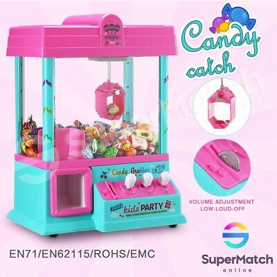 Kids Toy Mini Candy Grabber Carnival Prize Machine Vending Arcade Claw Game PINK