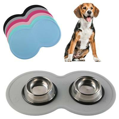 AU Eco Silicon Pet Feeding Food Mat Dog Cat Floor Placemat Dish Bowl Pad Tray