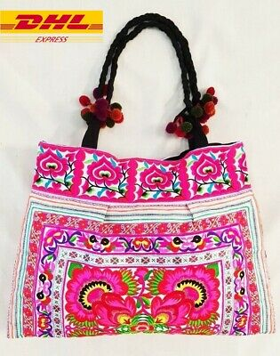 Hmong Shoulder Bags Hill Tribe Unique Handmade Pink Embroidered Bag Bohemian  Hi c4ce3233e9084