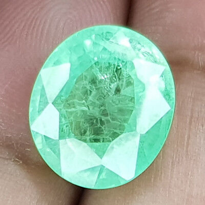 11.42 Cts 13M Si Oval Vivid Green Natural Emerald Loose Gemstone