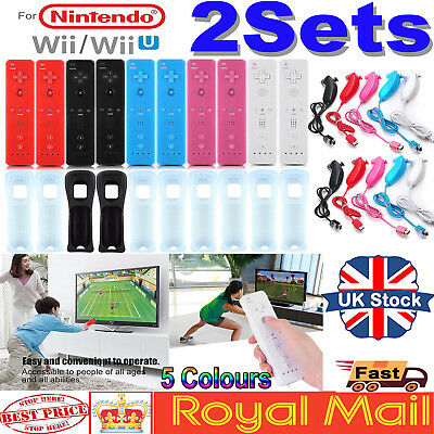 2SETS REMOTE CONTROLLER and NUNCHUCK FOR NINTENDO WII & WII U + SILICONE +STRAP#