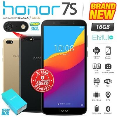 New & Sealed Factory Unlocked HONOR 7S Black Gold 16GB Dual SIM Android Phone