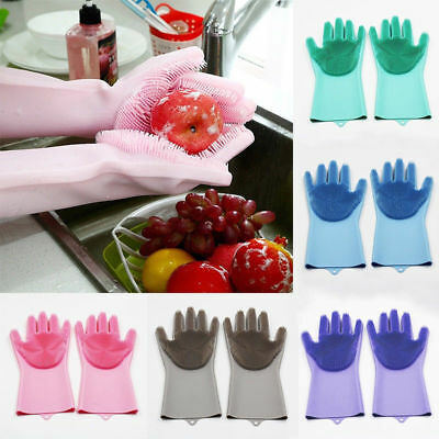 1Pair Magic Silicone Dish Washing Gloves Scrubber Cleaning Brush Heat Resistant@