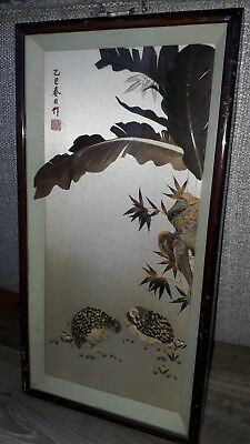 Vintage Chinese Feather Art Picture. Signed And Stamped. Lovely Bird Details.