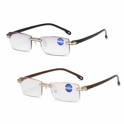 Ultralight Rimless Reading Glasses Clear Lens Anti-Blu-Ray Computer Presbyopia