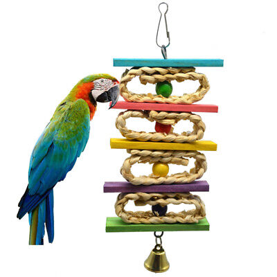 Pet Parrot Ring Bell Swing Toy Cage Hanging Wood Toys Parakeet Cockatiel Budgie