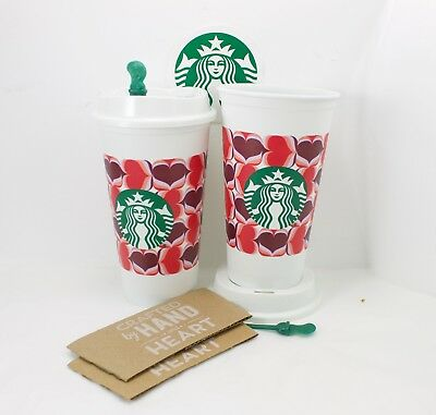 2 Starbucks Valentine Retro Hearts 2019 Reusable Drink Cup