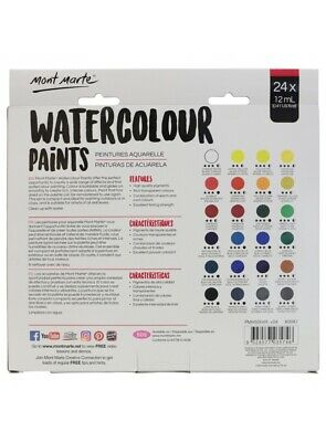 Watercolour Paint Set Paints Water Colour 24 x 12ml Tubes Mont Marte Art Craft