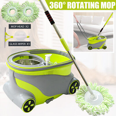 Home Cleaner Spinning Mop Bucket 360° Rotating w/ Wheels 2 Free Microfiber Heads