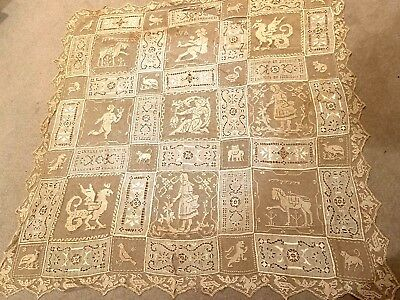 Antique Ecru Lace 40 inch Cloth or Overlay