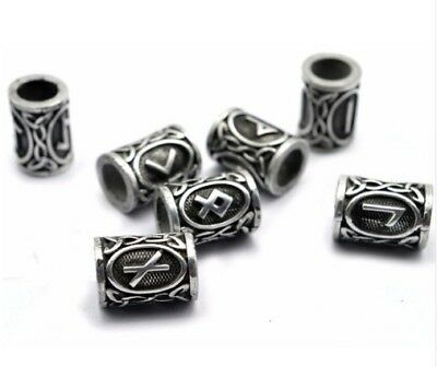 24Pc Ancient Silver Norse Viking Runes Beads Fit Men Bracelet Making Accessory