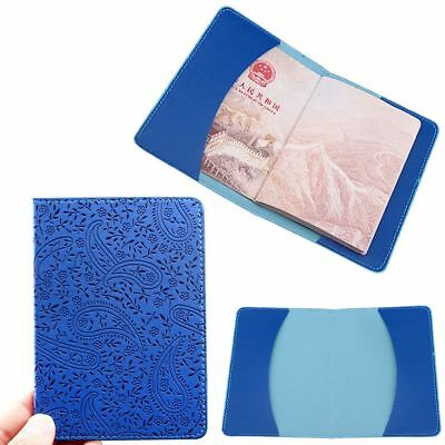 Embossing Pouch Protect Case Cover Lavender Pattern Passport Holder PU Leather