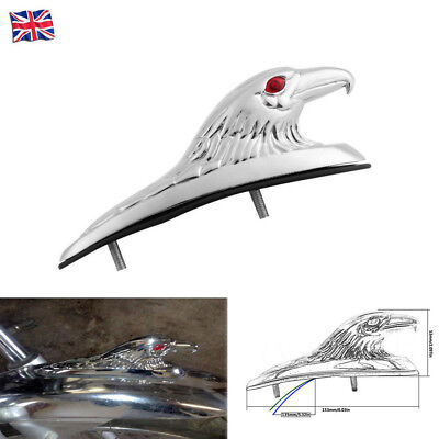 Universal Motorcycle Front Fender Ornament Eagle Head Statue Flashing Light