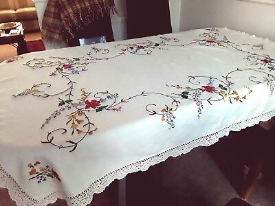 """Beautiful Hand-Embroidered Large Linen Vintage Tablecloth 64"""" x 46"""""""
