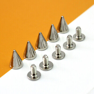 100x Silver Punk Spike Rivet Screw Bead DIY Metal Cone Studs Nailhead Spots Rock