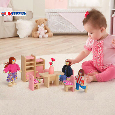 Wooden Furniture Room Set Dolls Miniature House Family Toy For Kids Children