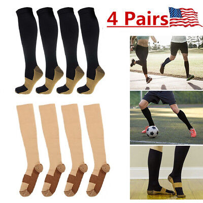 4 Pairs Copper Compression Support Socks 20-30mmHg Miracle Calf Men's Women's US