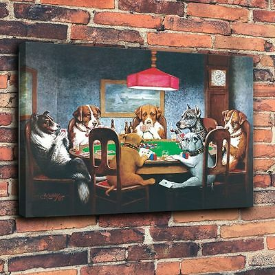 Art Print Oil Painting on Canvas Home Wall Decor - Dogs Playing Poker 12x16inch