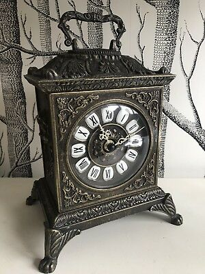 Mantle Clock Vintage Polished Brass Fitted With Battery Mechanism Heavy